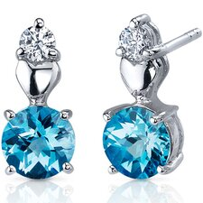 Gleaming Heart 2.00 Carats Swiss Blue Topaz Round Cut Cubic Zirconia Earrings in Sterling Silver