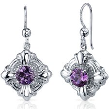 Victorian Style 2.50 Carats Alexandrite Round Cut Dangle Cubic Zirconia Earrings in Sterling Silver