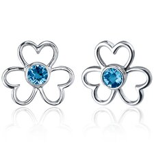 Floral Heart Design 1.00 Carat Swiss Blue Topaz Round Cut Earrings in Sterling Silver