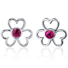 Floral Heart Design 1.50 Carats Ruby Round Cut Earrings in Sterling Silver