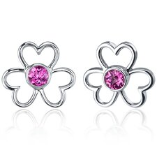 Floral Heart Design 1.50 Carats Pink Sapphire Round Cut Earrings in Sterling Silver