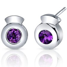 Sleek Radiance Round Cut Earrings in Sterling Silver