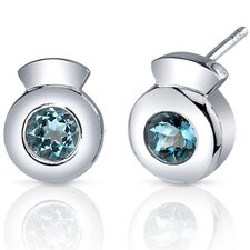 Sleek Radiance 1.00 Carat London Blue Topaz Round Cut Earrings in Sterling Silver