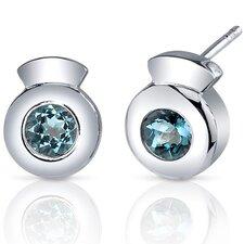 Sleek Radiance 1.00 Carat London Blue Topaz Round Cut Earrings in Sterling Silver