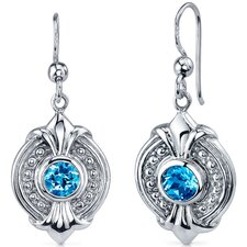 Ornate 1.50 Carats Swiss Blue Topaz Round Cut Dangle Earrings in Sterling Silver