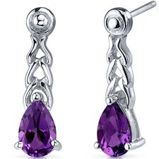 Intricate Allure 1.50 Carats Amethyst Pear Shape Drop Earrings in Sterling Silver