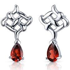 Ornate Exuberance 2.00 Carats Garnet Pear Shape Earrings in Sterling Silver