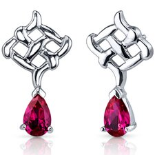 Ornate Exuberance 2.00 Carats Ruby Pear Shape Earrings in Sterling Silver