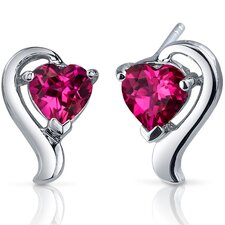 Cupids Harmony 2.00 Carats Ruby Heart Shape Earrings in Sterling Silver