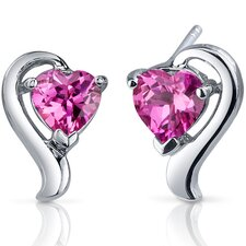 Cupids Harmony 2.00 Carats Pink Sapphire Heart Shape Earrings in Sterling Silver