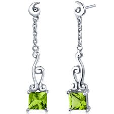 Lucid Spiral Design Gemstone Princess Cut Dangle Earrings in Sterling Silver