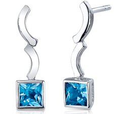 Modern Curves 1.50 Carats Swiss Blue Topaz Princess Cut Earrings in Sterling Silver