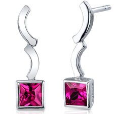 Modern Curves 1.50 Carats Ruby Princess Cut Earrings in Sterling Silver