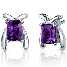 Striking Color Gemstone Radiant Cut Earrings in Sterling Silver