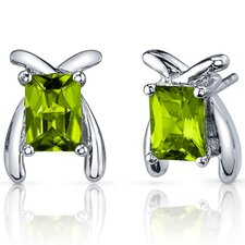 Striking Color 2.00 Carats Peridot Radiant Cut Earrings in Sterling Silver