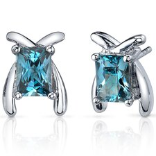 Striking Color 2.00 Carats London Blue Topaz Radiant Cut Earrings in Sterling Silver