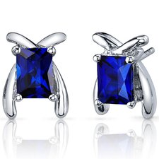 Striking Color 2.50 Carats Blue Sapphire Radiant Cut Earrings in Sterling Silver