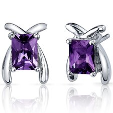 Striking Color 2.50 Carats Alexandrite Radiant Cut Earrings in Sterling Silver