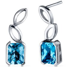 Elegant Leaf Design 2.00 Carats Swiss Blue Topaz Radiant Cut Earrings in Sterling Silver