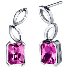 Elegant Leaf Design 2.50 Carats Pink Sapphire Radiant Cut Earrings in Sterling Silver
