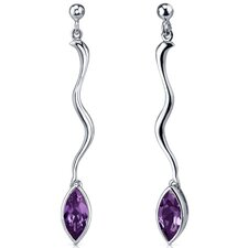Amazing Curves Gemstone Marquise Cut Dangle Earrings in Sterling Silver
