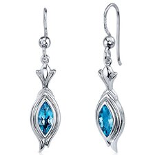 Dynamic Dangle 1.00 Carat Swiss Blue Topaz Marquise Cut Earrings in Sterling Silver