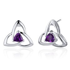 Modern Captivating Spiral 1.00 Carat Gemstone Trillion Cut Earrings in Sterling Silver