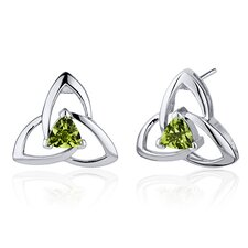 Modern Captivating Spiral 1.00 Carat Peridot Trillion Cut Earrings in Sterling Silver