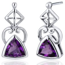 Ornate Class Gemstone Trillion Cut Earrings in Sterling Silver