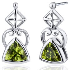 Ornate Class 1.50 Carats Peridot Trillion Cut Earrings in Sterling Silver