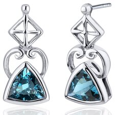 Ornate Class 1.50 Carats London Blue Topaz Trillion Cut Earrings in Sterling Silver