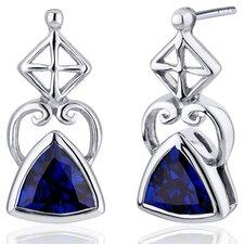 Ornate Class 2.00 Carats Blue Sapphire Trillion Cut Earrings in Sterling Silver