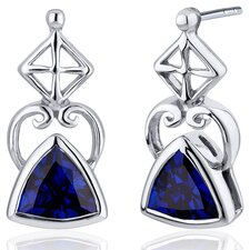 Ornate Class 2.00 Carats Blue Sapphire Trillion Cut Earrings in Sterling Silver