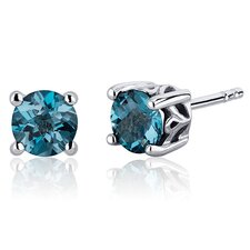 Scroll Design 2.00 Carats London Blue Topaz Round Cut Stud Earrings in Sterling Silver