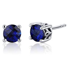 <strong>Oravo</strong> Scroll Design 2.00 Carats Blue Sapphire Round Cut Stud Earrings in Sterling Silver