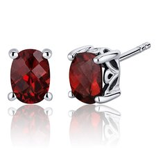 Basket Style 2.00 Carats Garnet Oval Cut Stud Earrings in Sterling Silver