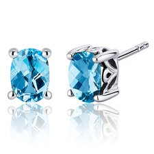 Basket Style 1.50 Carats Swiss Blue Topaz Oval Cut Stud Earrings in Sterling Silver