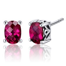 Basket Style 2.00 Carats Ruby Oval Cut Stud Earrings in Sterling Silver