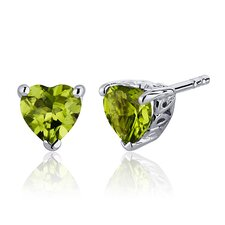 1.50 Carats Peridot Heart Shape Stud Earrings in Sterling Silver