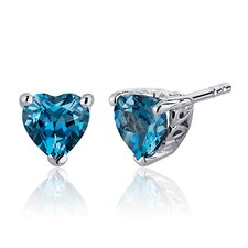 2.00 Carats London Blue Topaz Heart Shape Stud Earrings in Sterling Silver