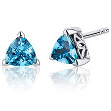 1.50 Carats Swiss Blue Topaz Trillion Cut V Prong Stud Earrings in Sterling Silver