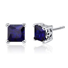 2.50 Carats Blue Sapphire Princess Cut Scroll Design Stud Earrings in Sterling Silver