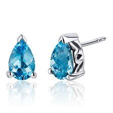 2.00 Carats Swiss Blue Topaz Pear Shape Basket Style Stud Earrings in Sterling Silver