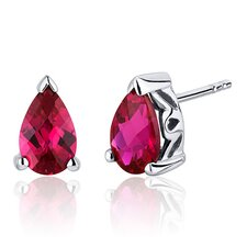 <strong>Oravo</strong> 2.00 Carats Ruby Pear Shape Basket Style Stud Earrings in Sterling Silver