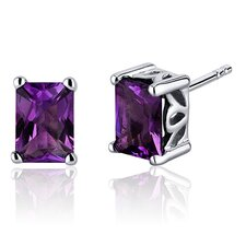 Radiant Cut Gemstone Stud Earrings in Sterling Silver