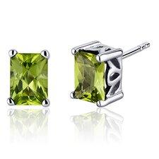 Radiant Cut 2.00 Carats Peridot Stud Earrings in Sterling Silver