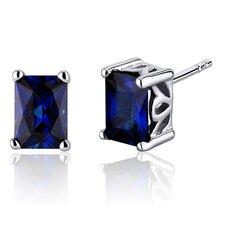 Radiant Cut 2.50 Carats Blue Sapphire Stud Earrings in Sterling Silver