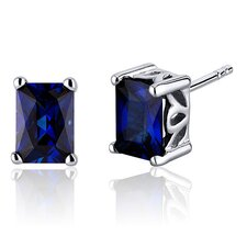 Radiant Cut 2.50 Carats Blue Sapphire Stud Earrings in Sterling Silver