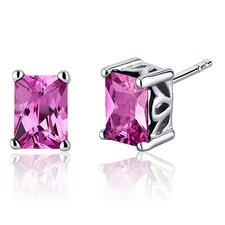 Radiant Cut 2.50 Carats Pink Sapphire Stud Earrings in Sterling Silver