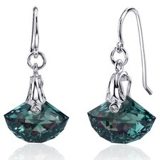 Spectacular Shell Cut 12.00 carats Alexandrite Fishhook Earrings Sterling Silver